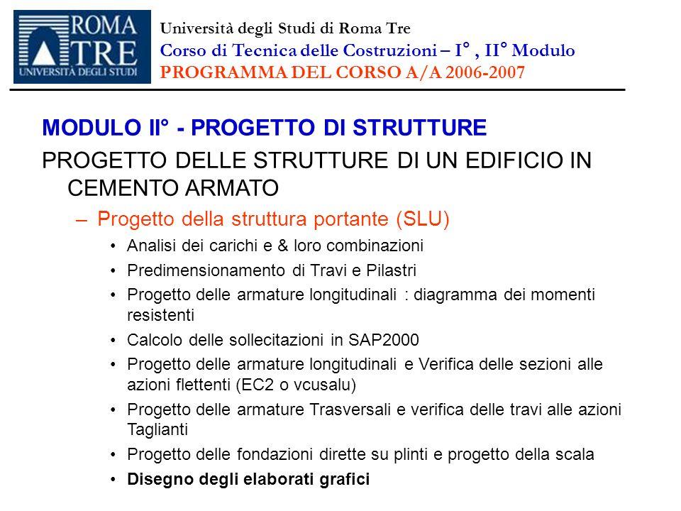MODULO II° - PROGETTO DI STRUTTURE