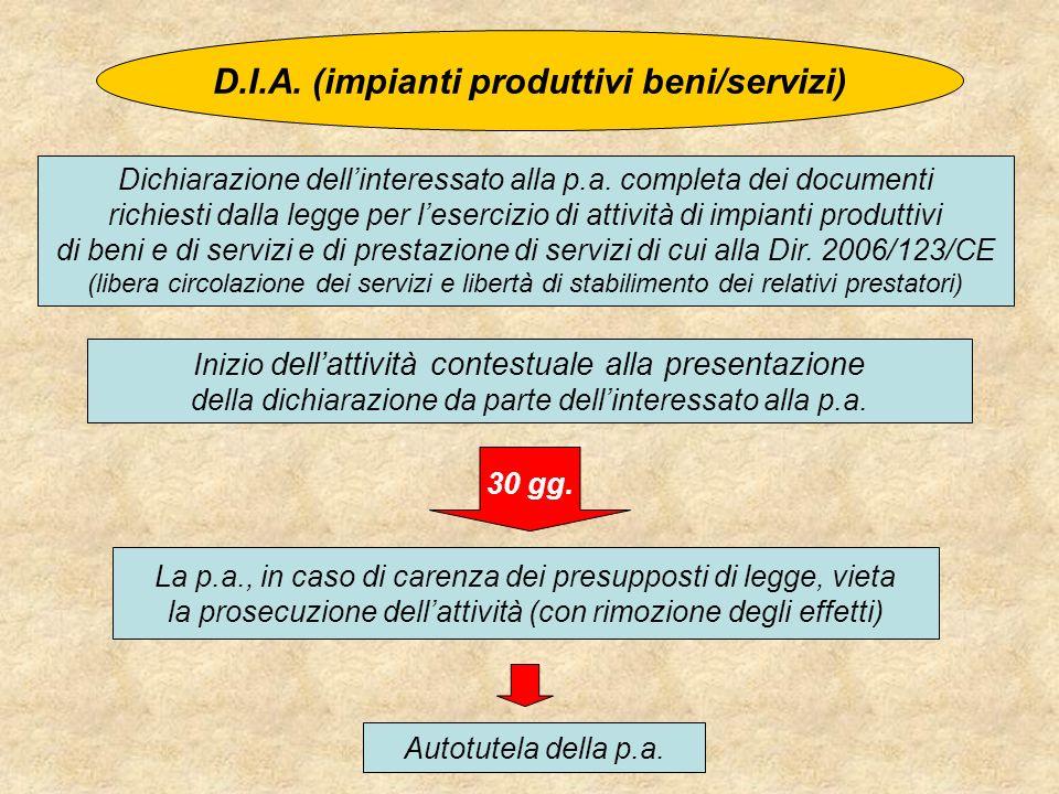 D.I.A. (impianti produttivi beni/servizi)