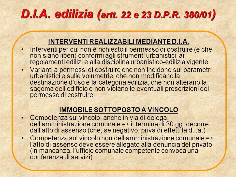 D.I.A. edilizia (artt. 22 e 23 D.P.R. 380/01)