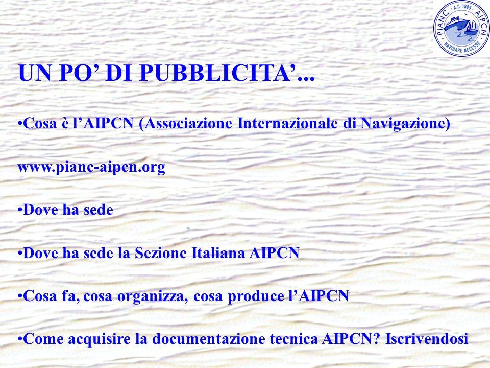 UN PO' DI PUBBLICITA'...Cosa è l'AIPCN (Associazione Internazionale di Navigazione) www.pianc-aipcn.org.