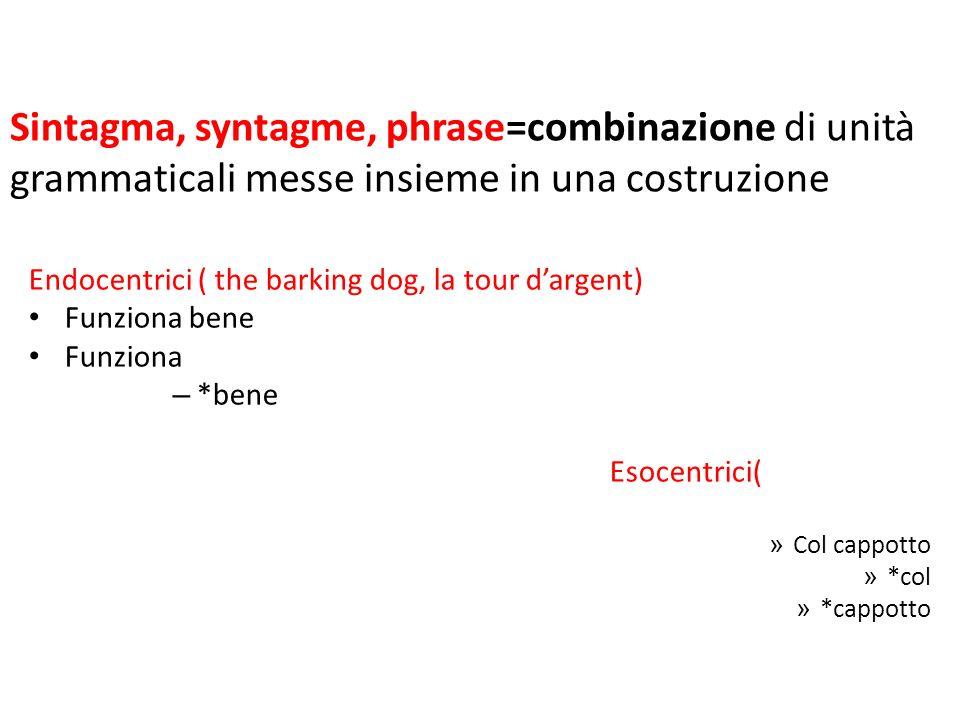 Sintagma, syntagme, phrase=combinazione di unità grammaticali messe insieme in una costruzione