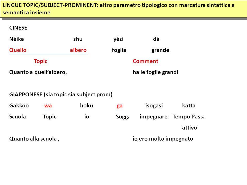 LINGUE TOPIC/SUBJECT-PROMINENT: altro parametro tipologico con marcatura sintattica e semantica insieme