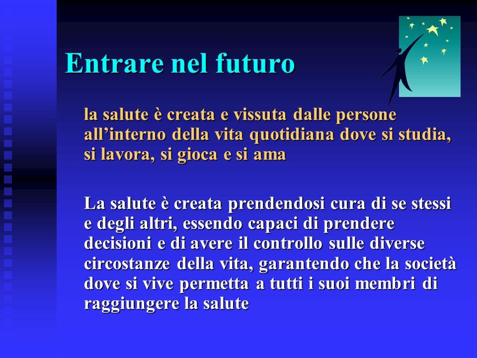 Entrare nel futuro la salute è creata e vissuta dalle persone all'interno della vita quotidiana dove si studia, si lavora, si gioca e si ama.