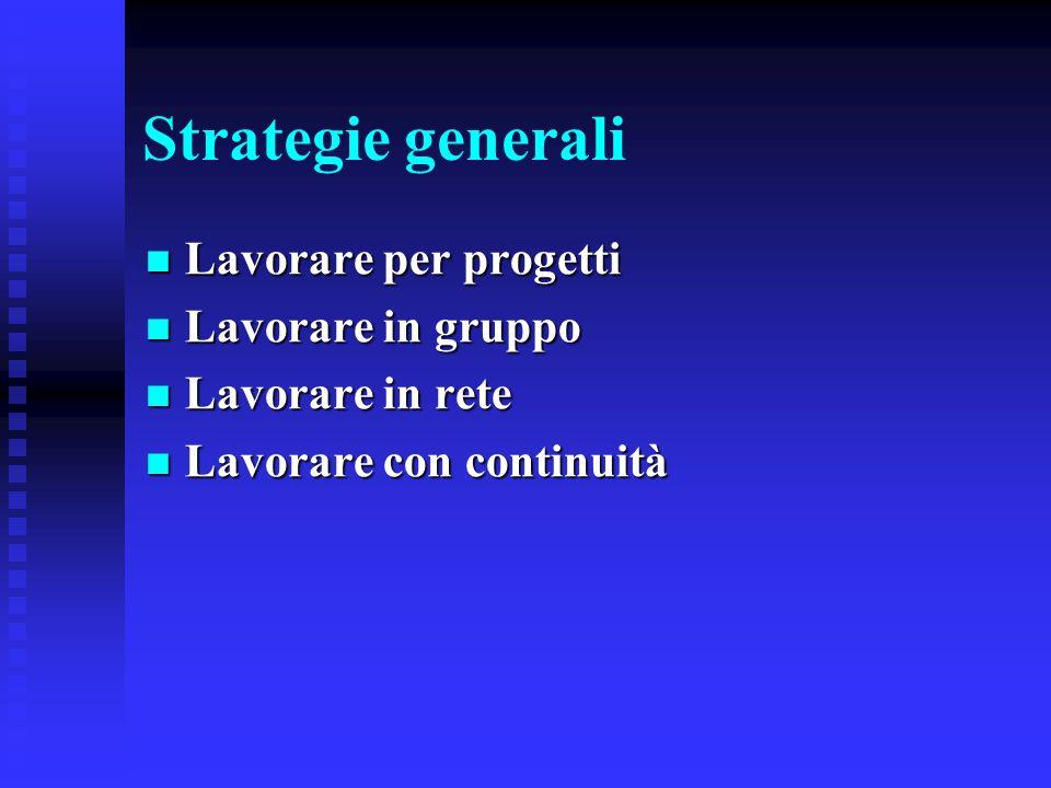 Strategie generali Lavorare per progetti Lavorare in gruppo