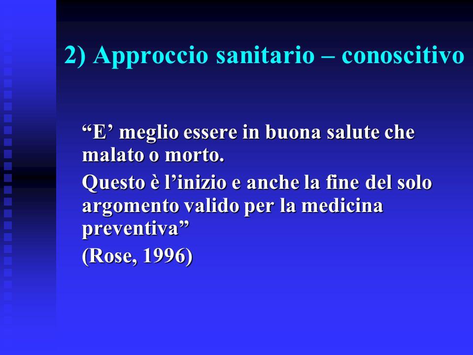 2) Approccio sanitario – conoscitivo
