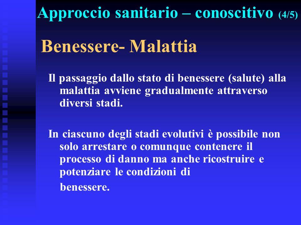 Benessere- Malattia Approccio sanitario – conoscitivo (4/5)