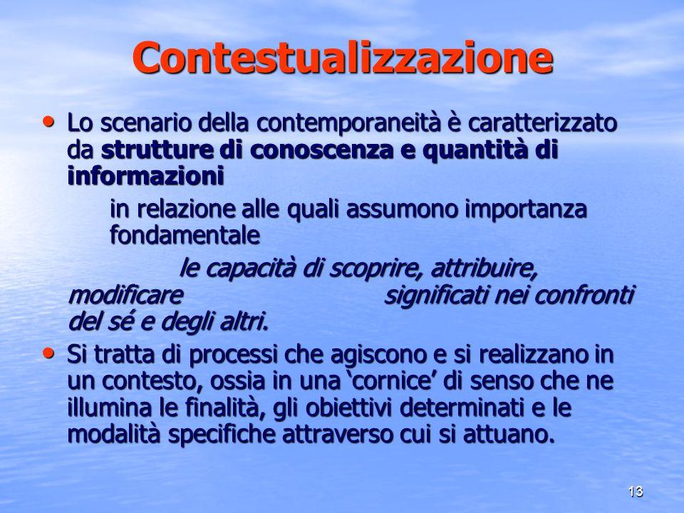 Contestualizzazione Lo scenario della contemporaneità è caratterizzato da strutture di conoscenza e quantità di informazioni.