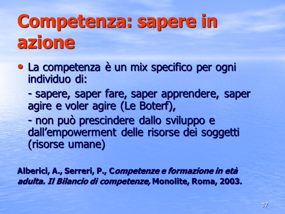 Competenza: sapere in azione