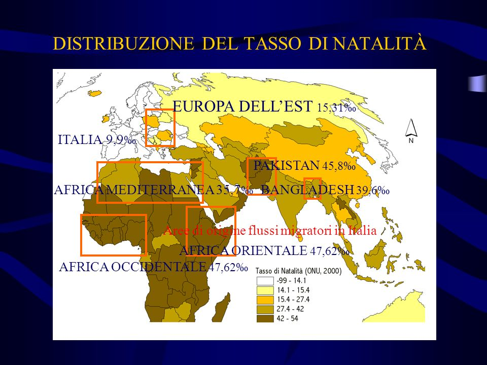 DISTRIBUZIONE DEL TASSO DI NATALITÀ