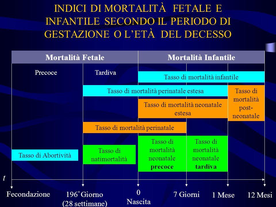 INDICI DI MORTALITÀ FETALE E INFANTILE SECONDO IL PERIODO DI GESTAZIONE O L'ETÀ DEL DECESSO