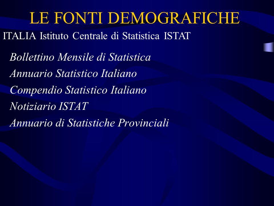 LE FONTI DEMOGRAFICHE Bollettino Mensile di Statistica