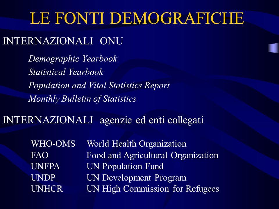 LE FONTI DEMOGRAFICHE INTERNAZIONALI ONU