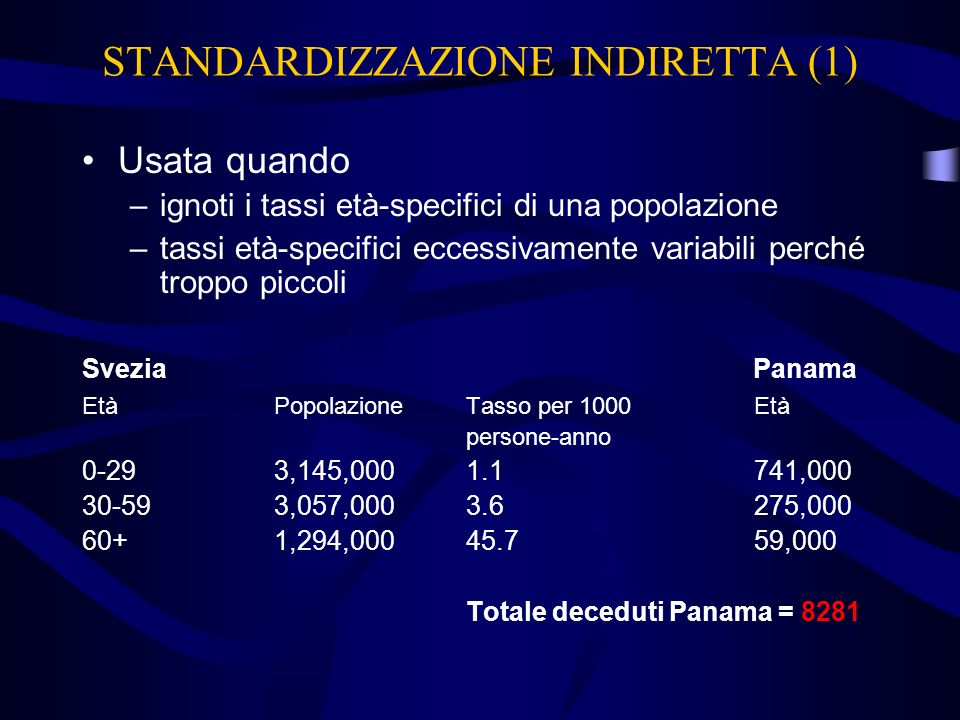 STANDARDIZZAZIONE INDIRETTA (1)