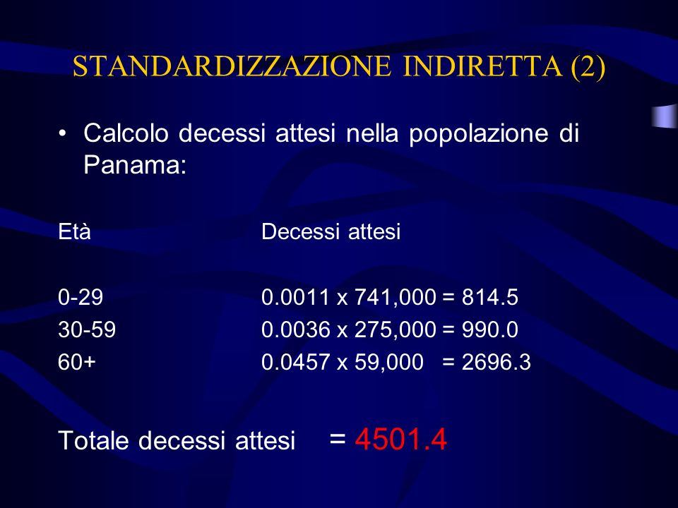 STANDARDIZZAZIONE INDIRETTA (2)