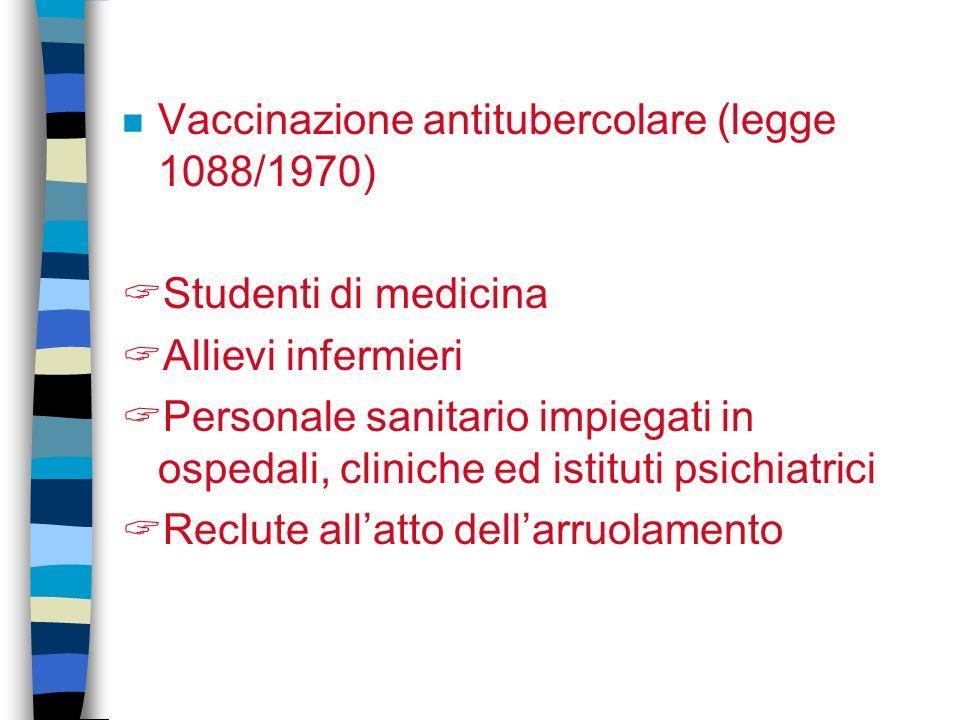 Vaccinazione antitubercolare (legge 1088/1970)
