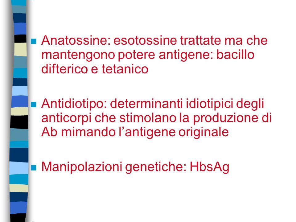 Anatossine: esotossine trattate ma che mantengono potere antigene: bacillo difterico e tetanico