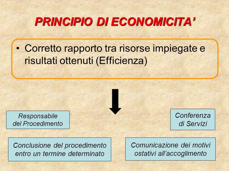 PRINCIPIO DI ECONOMICITA'
