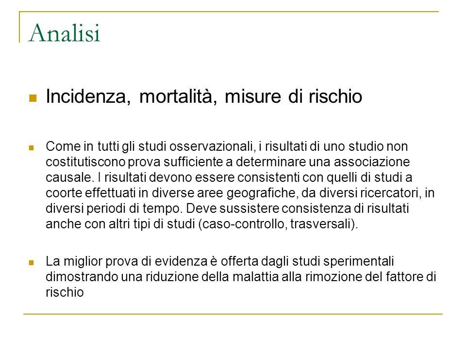Analisi Incidenza, mortalità, misure di rischio