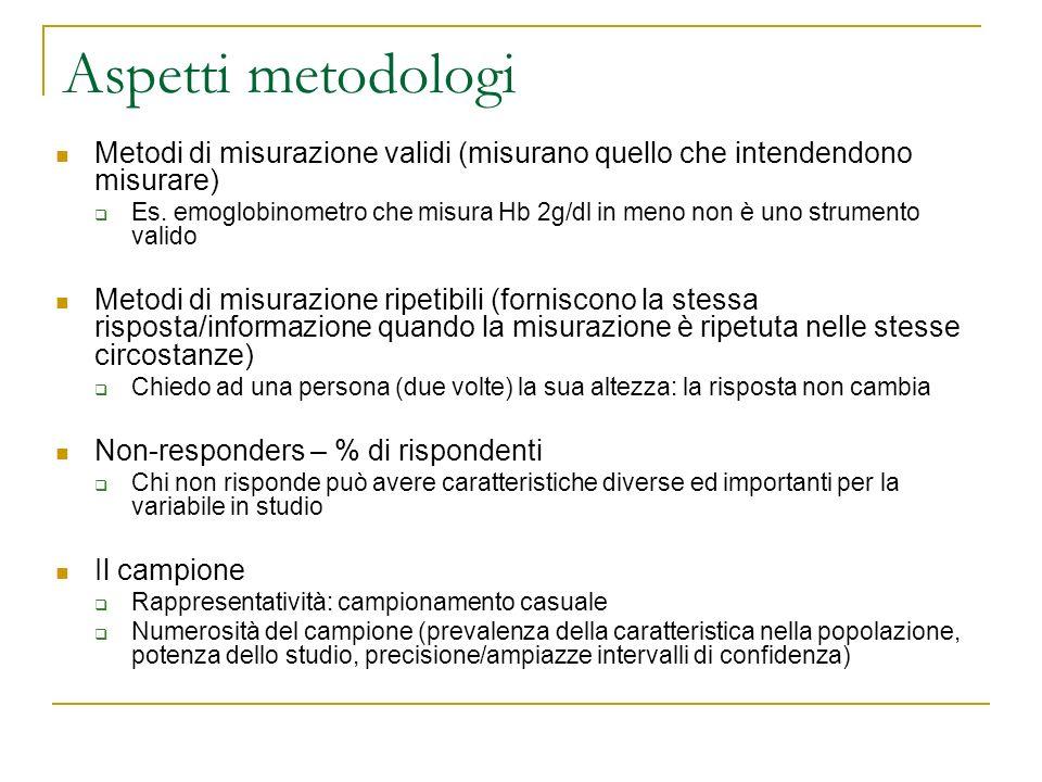 Aspetti metodologi Metodi di misurazione validi (misurano quello che intendendono misurare)