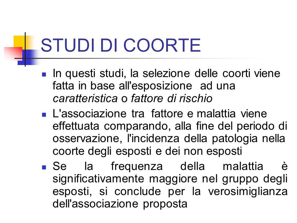 STUDI DI COORTE In questi studi, la selezione delle coorti viene fatta in base all esposizione ad una caratteristica o fattore di rischio.