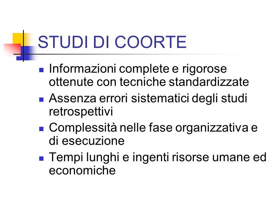 STUDI DI COORTE Informazioni complete e rigorose ottenute con tecniche standardizzate. Assenza errori sistematici degli studi retrospettivi.