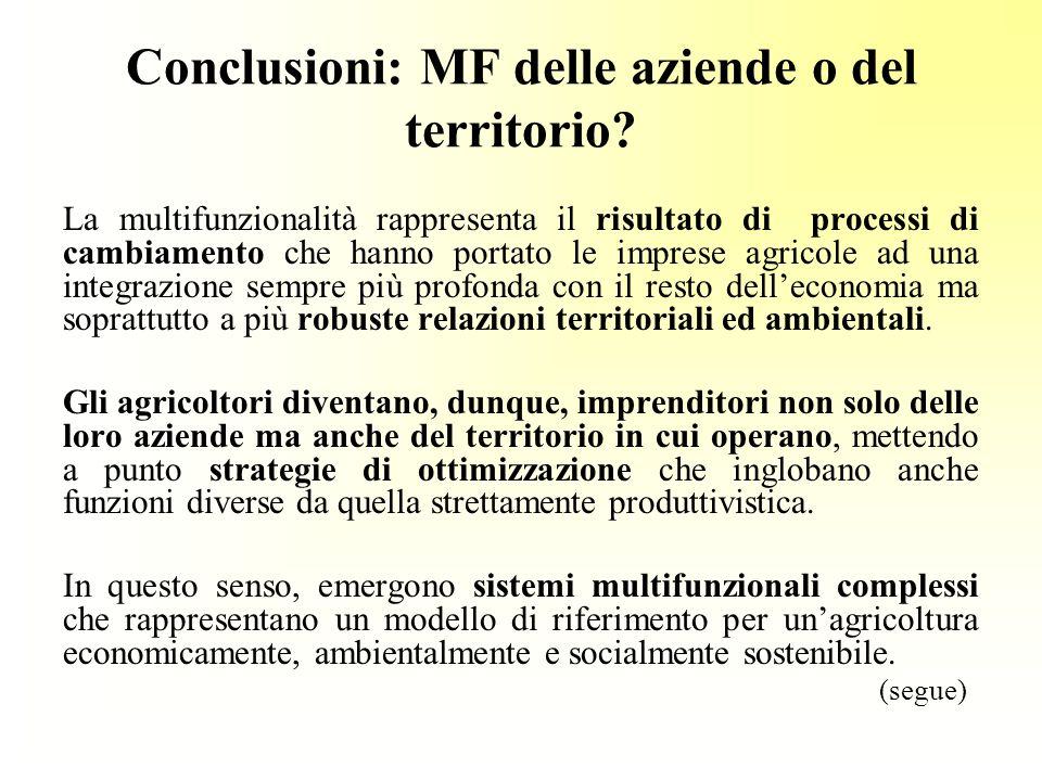 Conclusioni: MF delle aziende o del territorio
