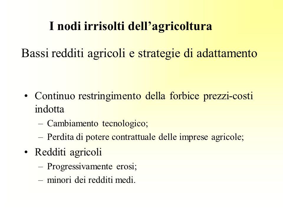 Bassi redditi agricoli e strategie di adattamento