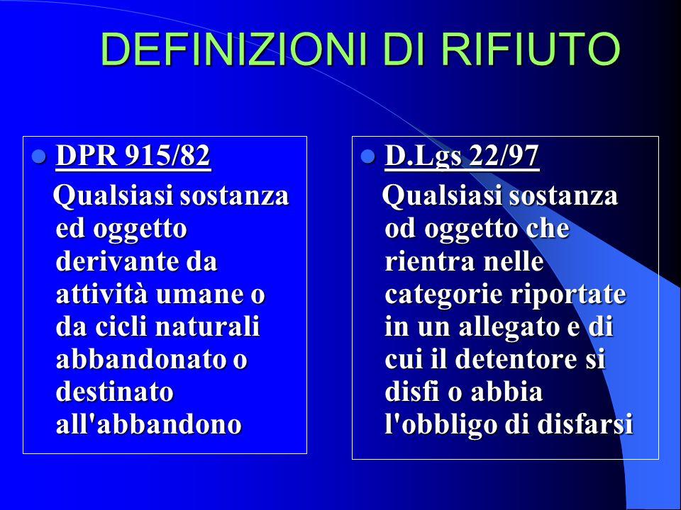 DEFINIZIONI DI RIFIUTO