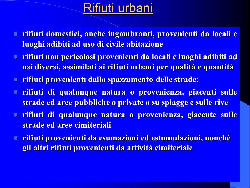 Rifiuti urbani rifiuti domestici, anche ingombranti, provenienti da locali e luoghi adibiti ad uso di civile abitazione.