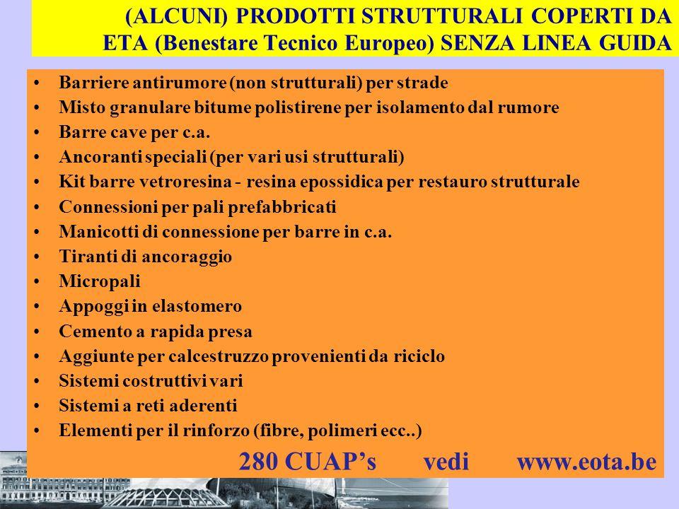 (ALCUNI) PRODOTTI STRUTTURALI COPERTI DA ETA (Benestare Tecnico Europeo) SENZA LINEA GUIDA