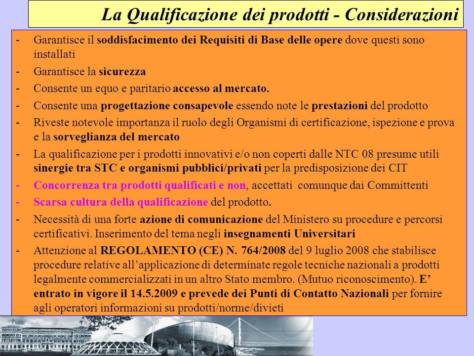 La Qualificazione dei prodotti - Considerazioni
