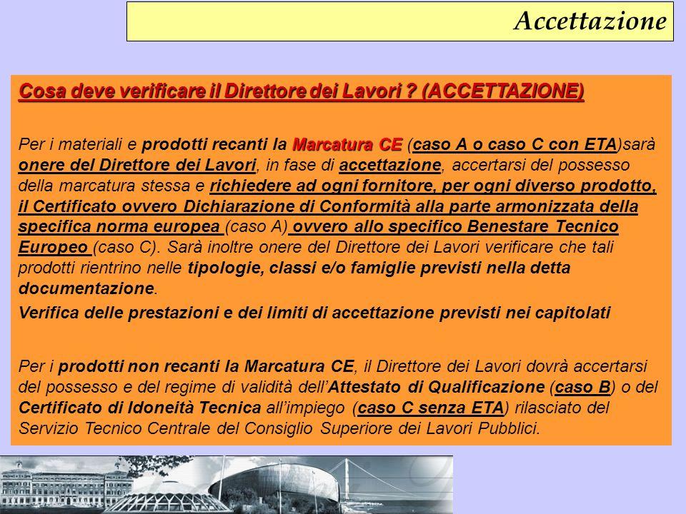 Accettazione Cosa deve verificare il Direttore dei Lavori (ACCETTAZIONE)