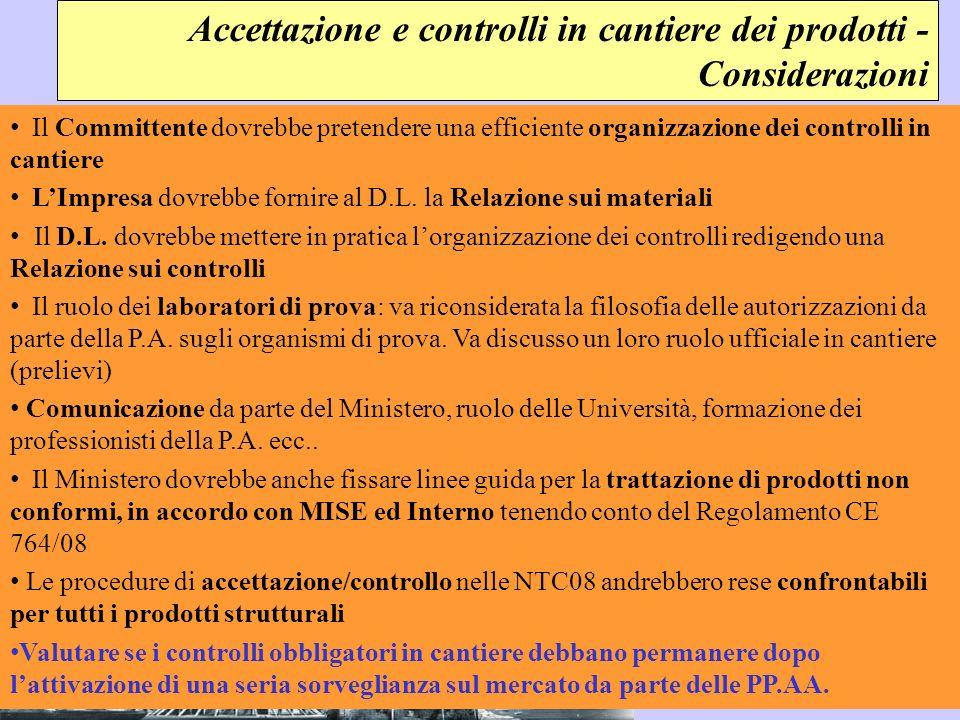 Accettazione e controlli in cantiere dei prodotti - Considerazioni