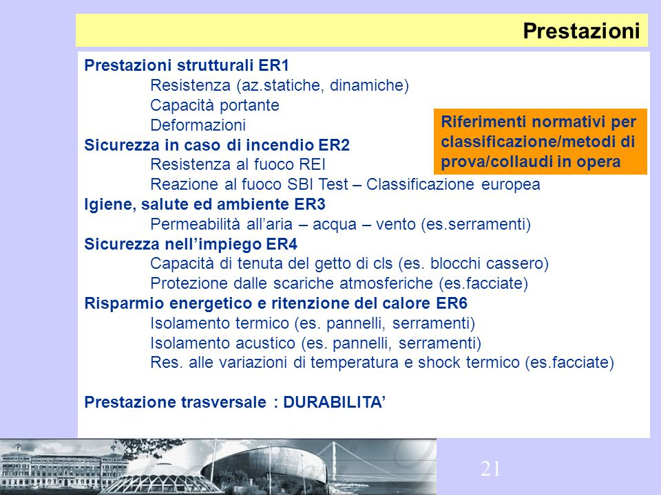 Prestazioni Prestazioni strutturali ER1