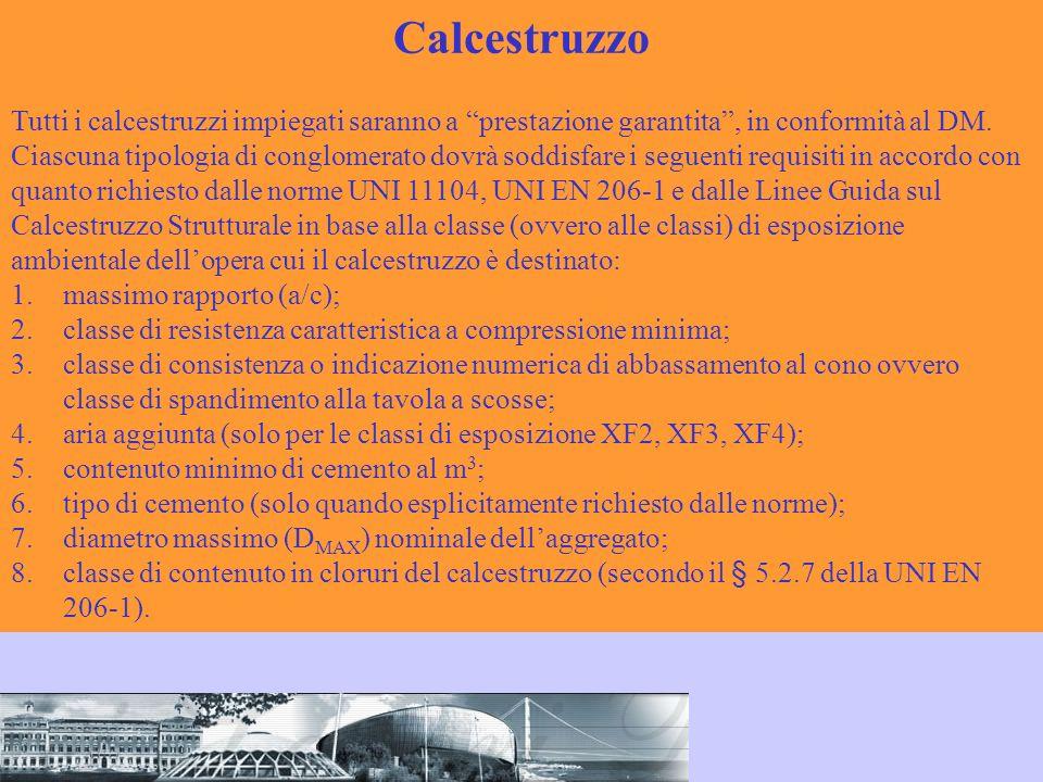 CalcestruzzoTutti i calcestruzzi impiegati saranno a prestazione garantita , in conformità al DM.