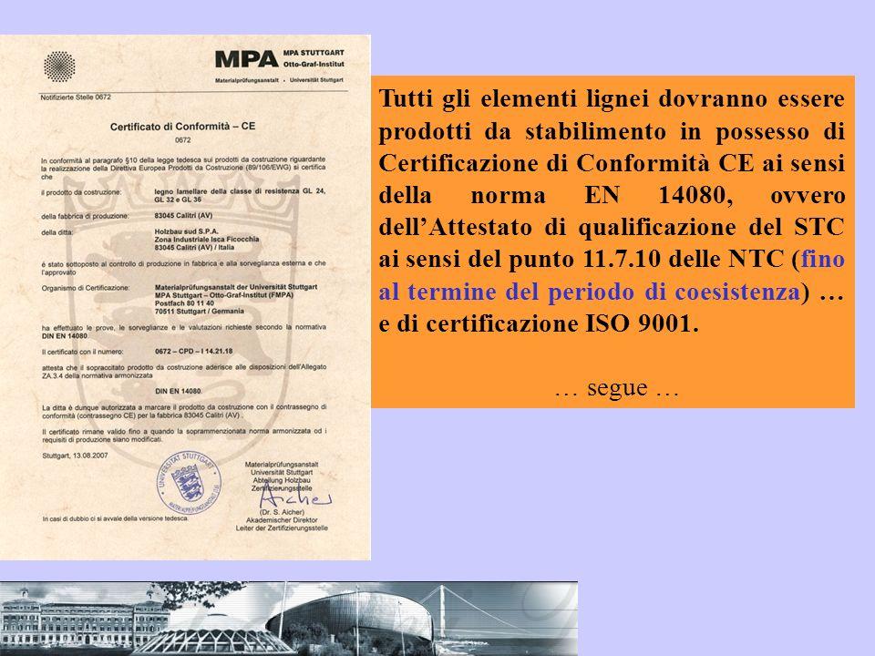 Tutti gli elementi lignei dovranno essere prodotti da stabilimento in possesso di Certificazione di Conformità CE ai sensi della norma EN 14080, ovvero dell'Attestato di qualificazione del STC ai sensi del punto 11.7.10 delle NTC (fino al termine del periodo di coesistenza) … e di certificazione ISO 9001.
