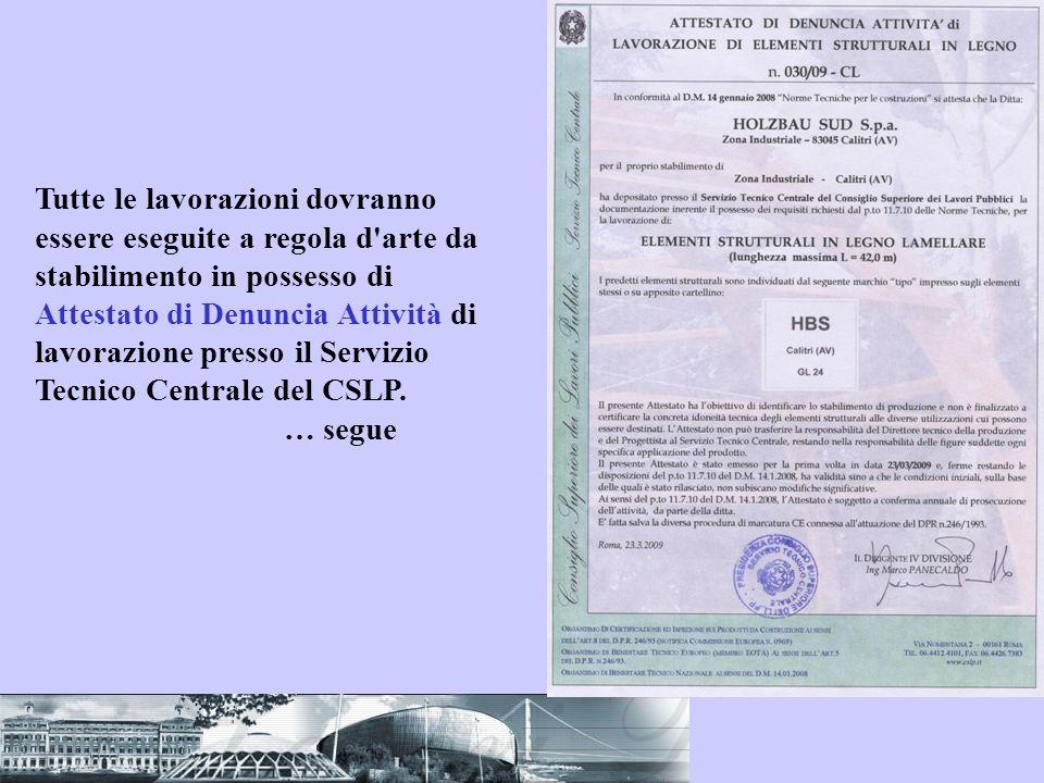 Tutte le lavorazioni dovranno essere eseguite a regola d arte da stabilimento in possesso di Attestato di Denuncia Attività di lavorazione presso il Servizio Tecnico Centrale del CSLP.