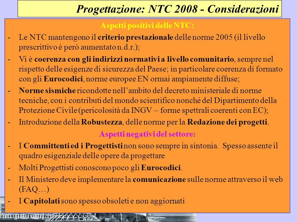 Aspetti positivi delle NTC: Aspetti negativi del settore: