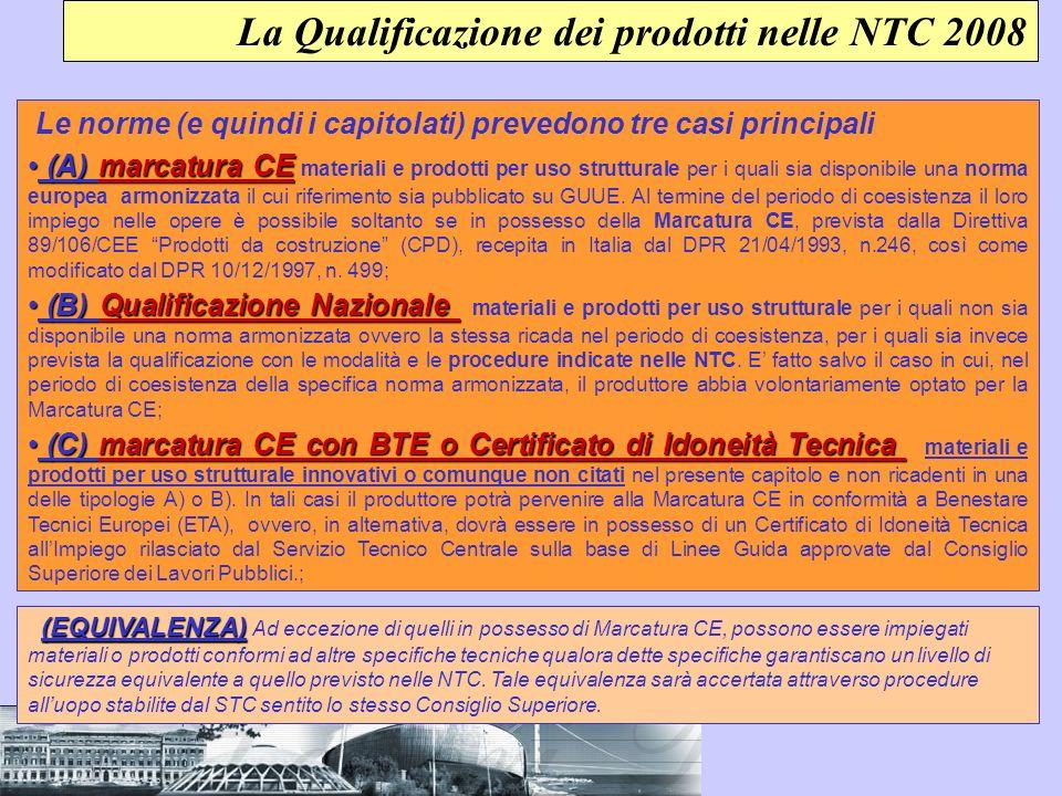 La Qualificazione dei prodotti nelle NTC 2008