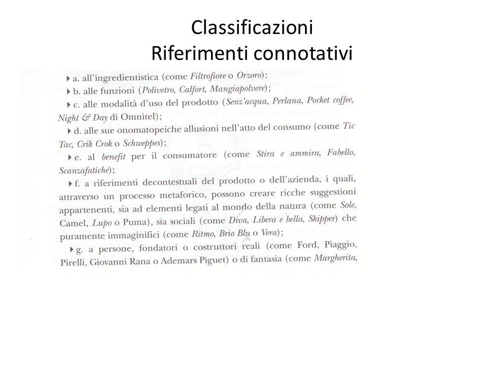 Classificazioni Riferimenti connotativi