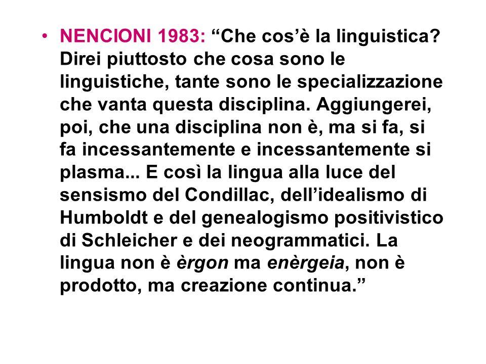 NENCIONI 1983: Che cos'è la linguistica