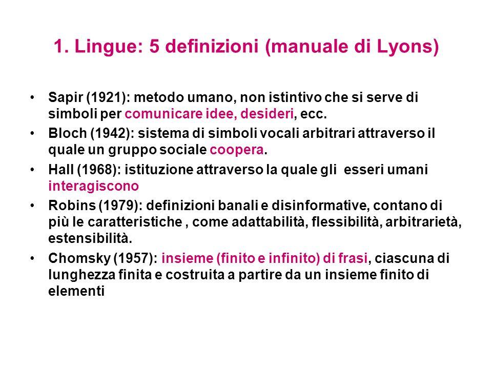 1. Lingue: 5 definizioni (manuale di Lyons)