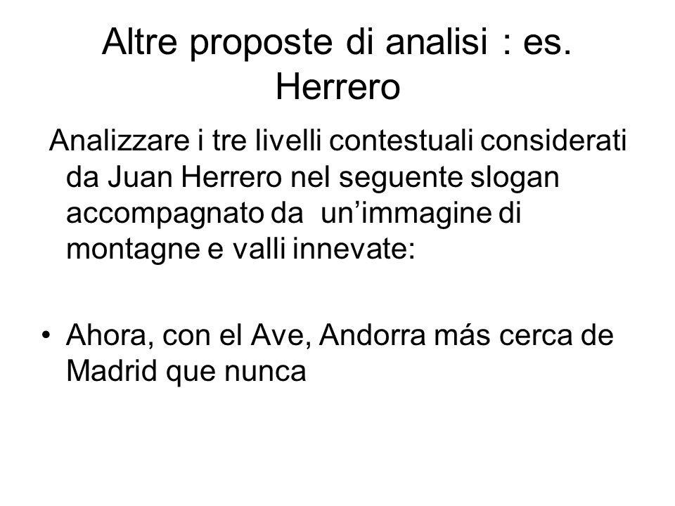 Altre proposte di analisi : es. Herrero