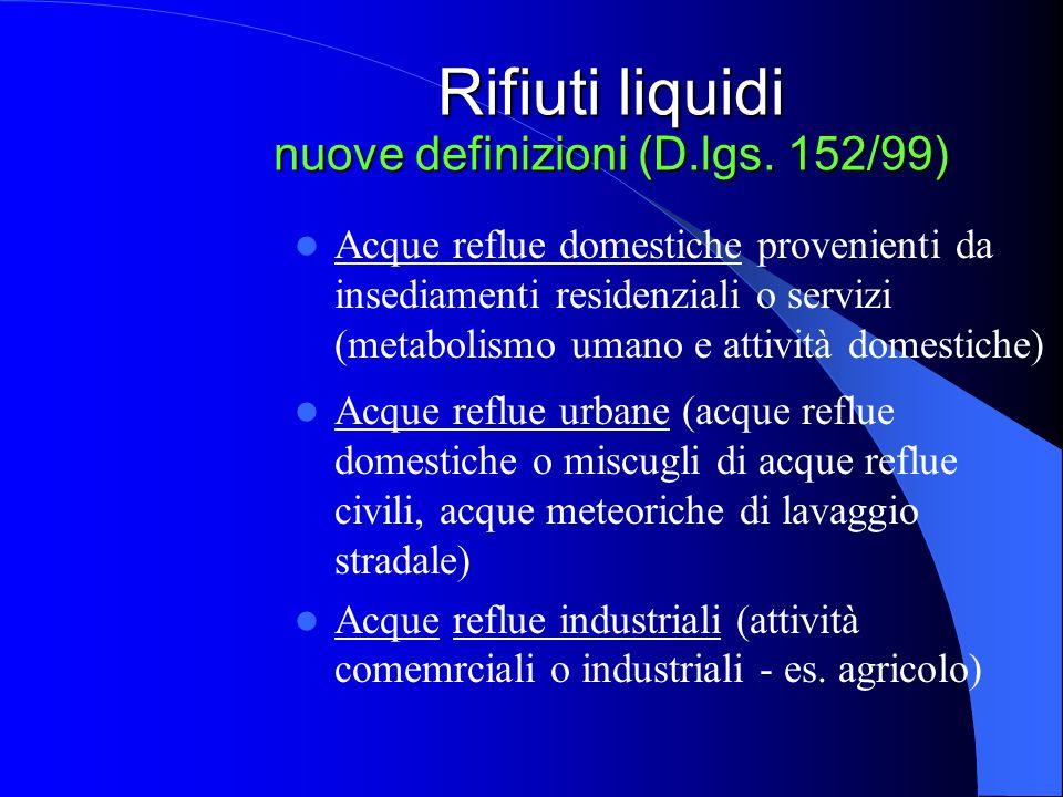 Rifiuti liquidi nuove definizioni (D.lgs. 152/99)