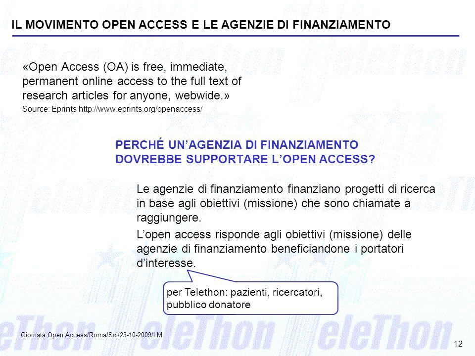 IL MOVIMENTO OPEN ACCESS E LE AGENZIE DI FINANZIAMENTO