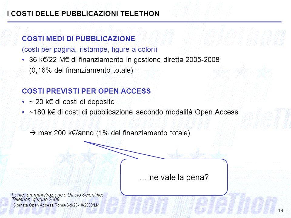 I COSTI DELLE PUBBLICAZIONI TELETHON