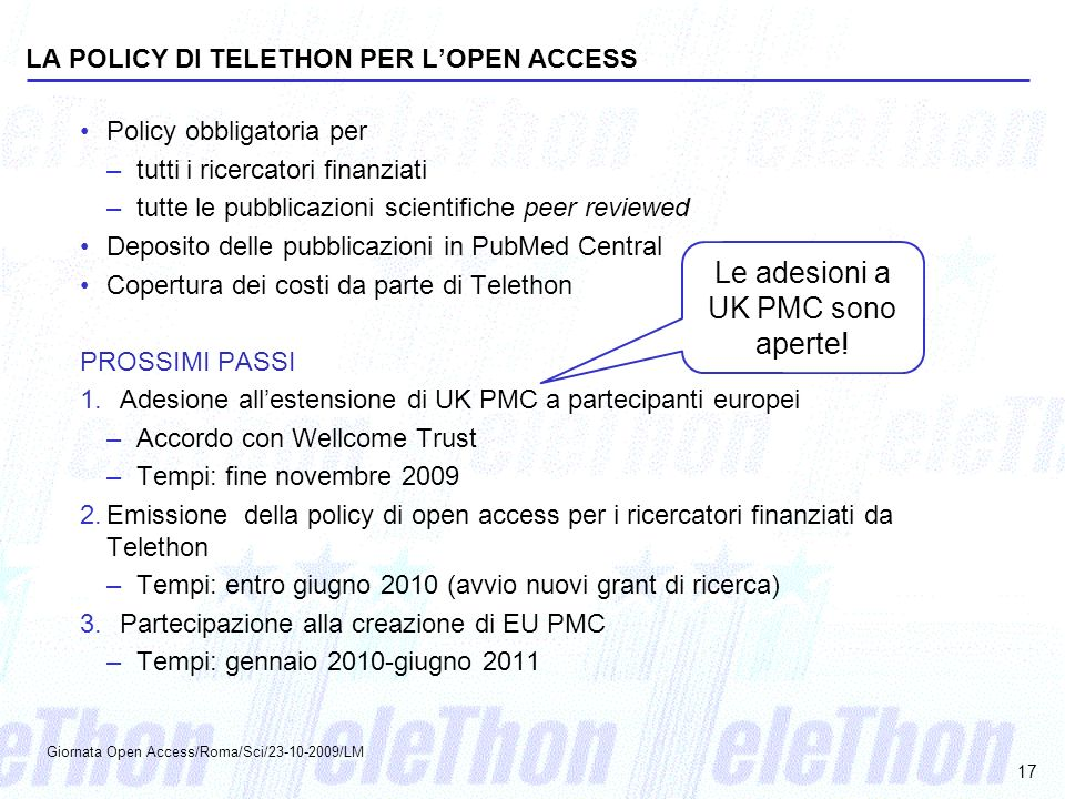 LA POLICY DI TELETHON PER L'OPEN ACCESS