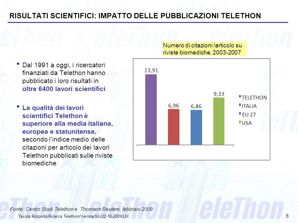 RISULTATI SCIENTIFICI: IMPATTO DELLE PUBBLICAZIONI TELETHON
