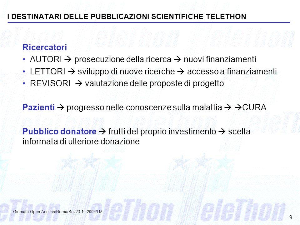I DESTINATARI DELLE PUBBLICAZIONI SCIENTIFICHE TELETHON