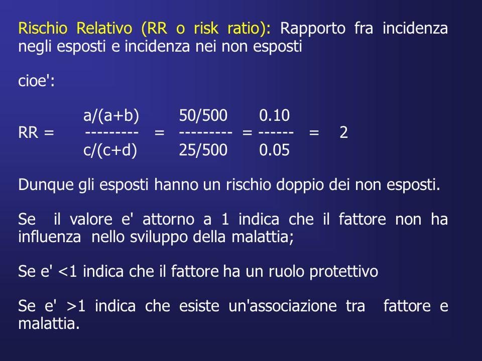 Rischio Relativo (RR o risk ratio): Rapporto fra incidenza negli esposti e incidenza nei non esposti